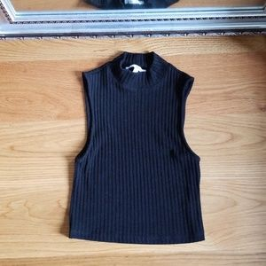 Express Ribbed High Neck Tanktop in Black